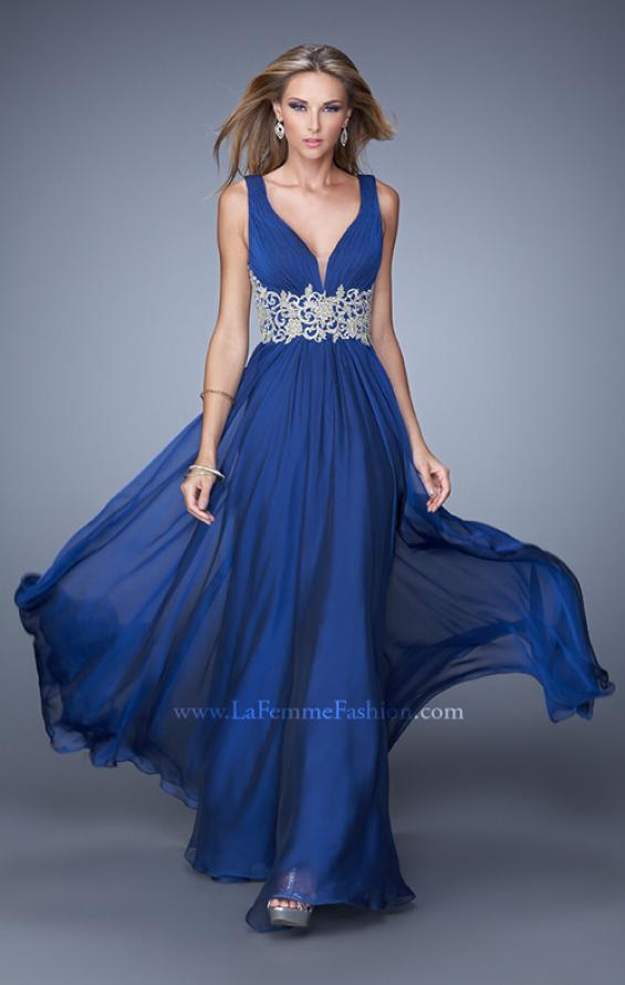 Picture of: V Neckline Prom Dress with Beaded Embroidery Belt in Blue, Style: 21280, Main Picture