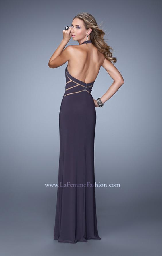 Picture of: Halter Long Jersey Prom Dress with Sheet Cut Outs, Style: 21282, Back Picture