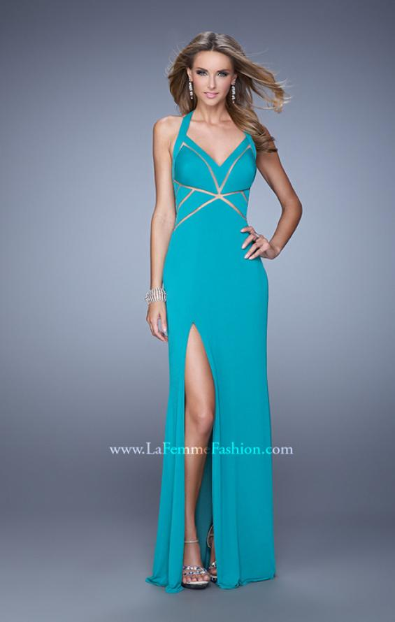 Picture of: Halter Long Jersey Prom Dress with Sheet Cut Outs, Style: 21282, Detail Picture 2