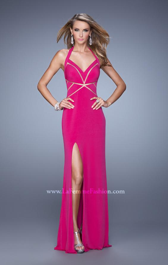 Picture of: Halter Long Jersey Prom Dress with Sheet Cut Outs, Style: 21282, Detail Picture 3