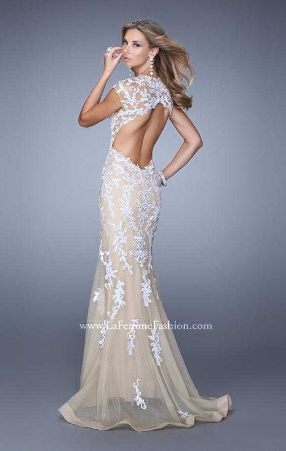 Picture of: Bold Prom Dress with Cap Sleeves and Embroidery in White, Style: 21283, Main Picture