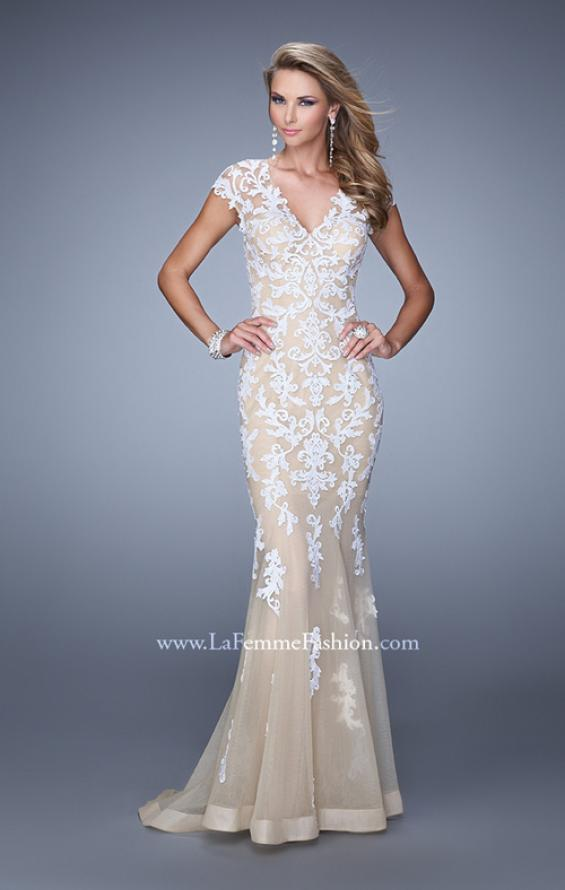 Picture of: Bold Prom Dress with Cap Sleeves and Embroidery in White, Style: 21283, Back Picture