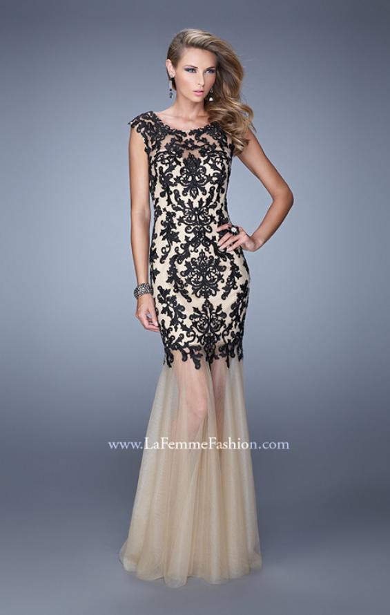 Picture of: Embroidered Mermaid Gown with Tulle Skirt and Cap Sleeves in Black and Nude, Style: 21286, Main Picture