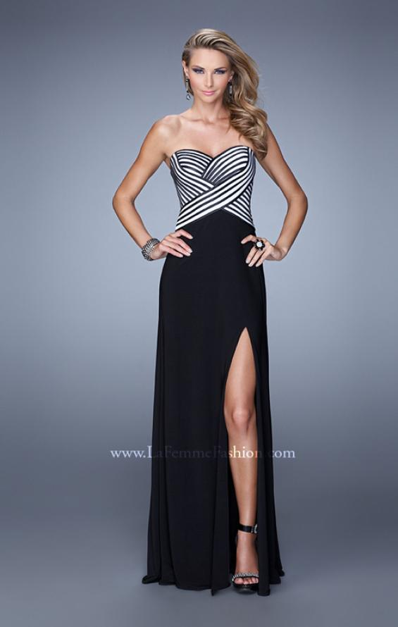 Picture of: Unique Jersey Prom Gown with Piping and Side Leg Slit, Style: 21290, Main Picture
