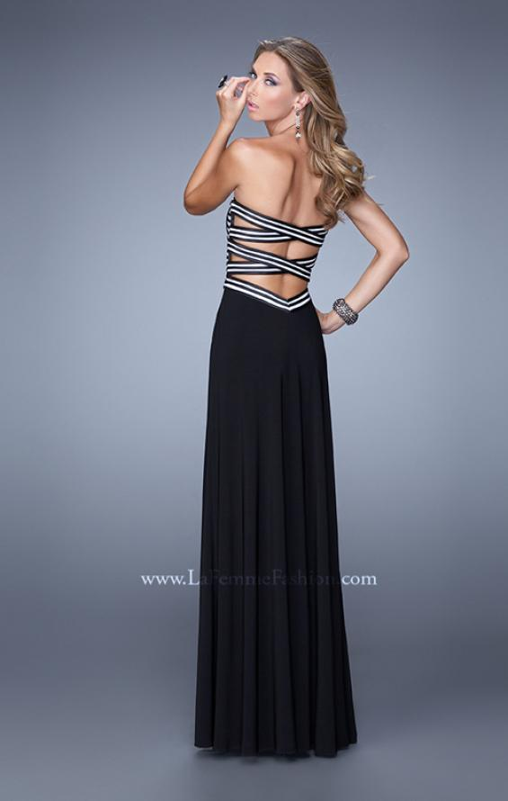 Picture of: Unique Jersey Prom Gown with Piping and Side Leg Slit, Style: 21290, Back Picture