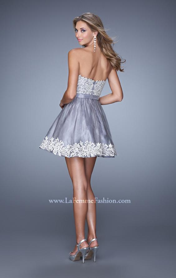 Picture of: Short Organza Cocktail Dress with Embroidery and Pockets, Style: 21306, Back Picture