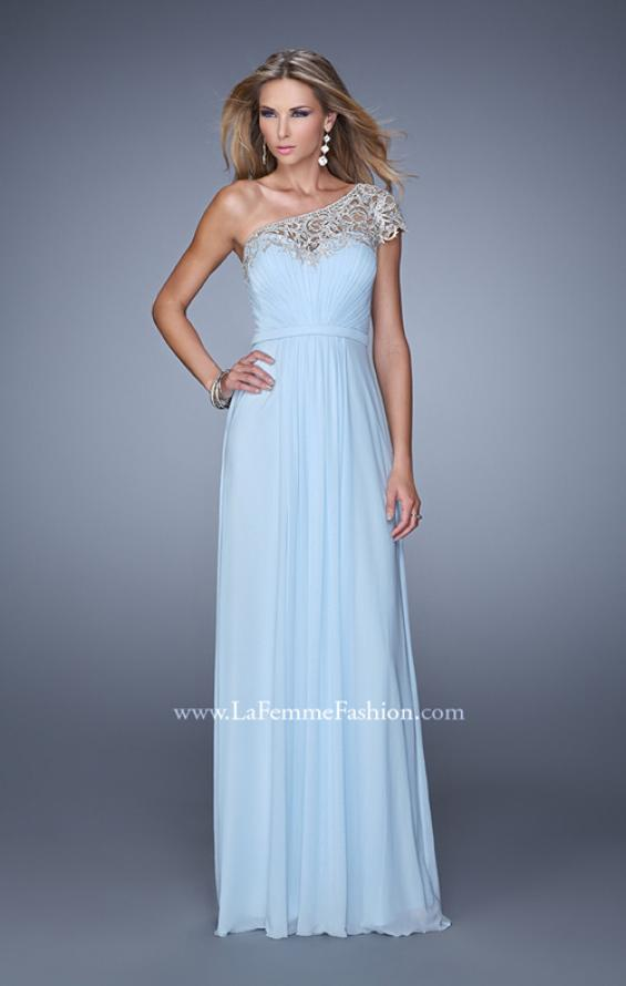Picture of: One Shoulder Prom Dress with Embroidered Sleeves in Blue, Style: 21309, Main Picture