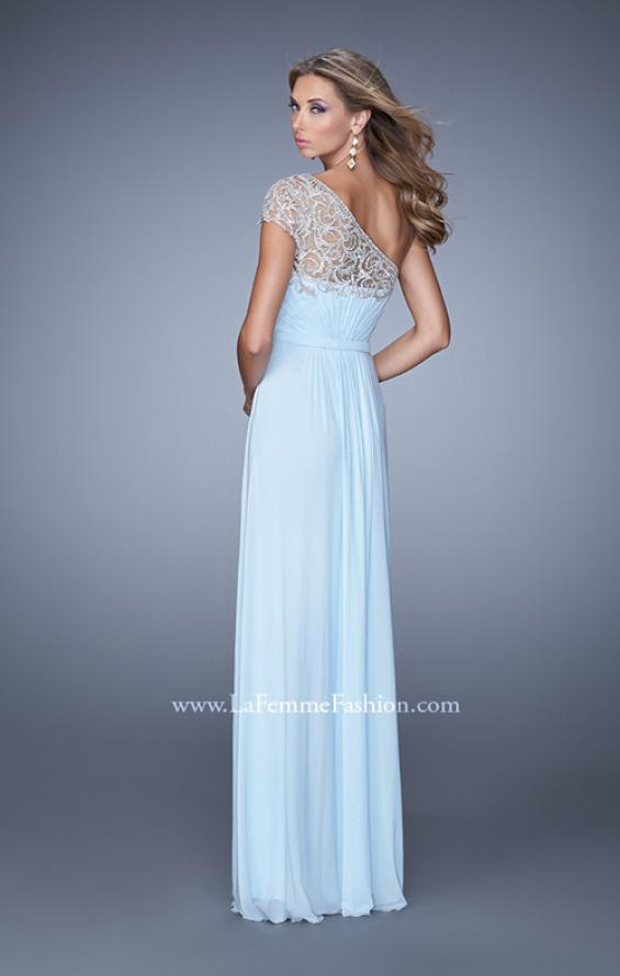 Picture of: One Shoulder Prom Dress with Embroidered Sleeves in Blue, Style: 21309, Back Picture