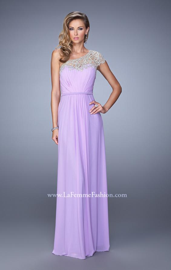 Picture of: One Shoulder Prom Dress with Embroidered Sleeves in Purple, Style: 21309, Detail Picture 1