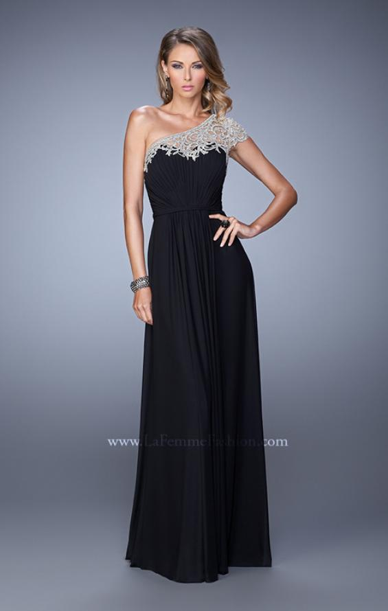 Picture of: One Shoulder Prom Dress with Embroidered Sleeves in Black, Style: 21309, Detail Picture 2