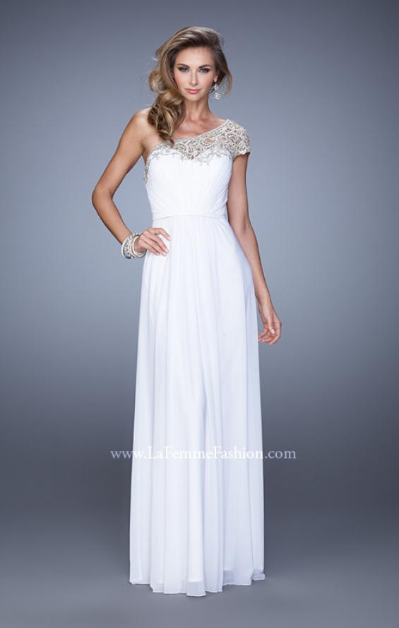 Picture of: One Shoulder Prom Dress with Embroidered Sleeves in White, Style: 21309, Detail Picture 4