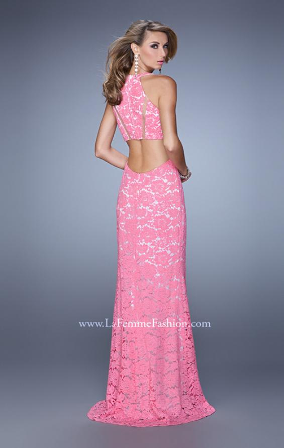 Picture of: Halter Lace Prom Dress with Low Scooped Back in Pink, Style: 21314, Back Picture