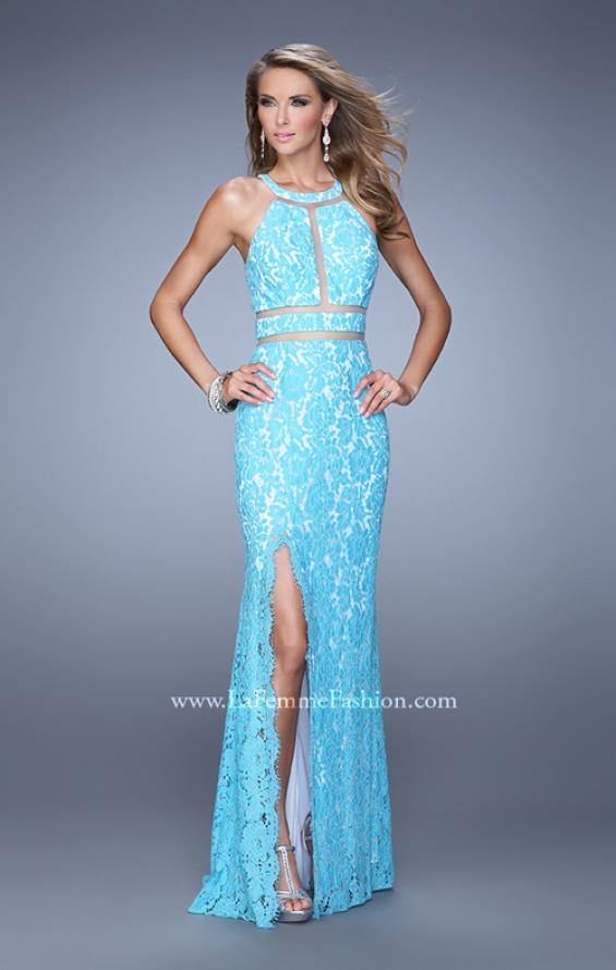 Picture of: Halter Lace Prom Dress with Low Scooped Back in Blue, Style: 21314, Detail Picture 1