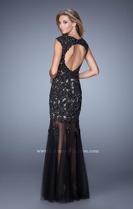 Picture of: Long Gown with Sheer Neck, Tulle Skirt, and Cap Sleeves, Style: 21318, Back Picture
