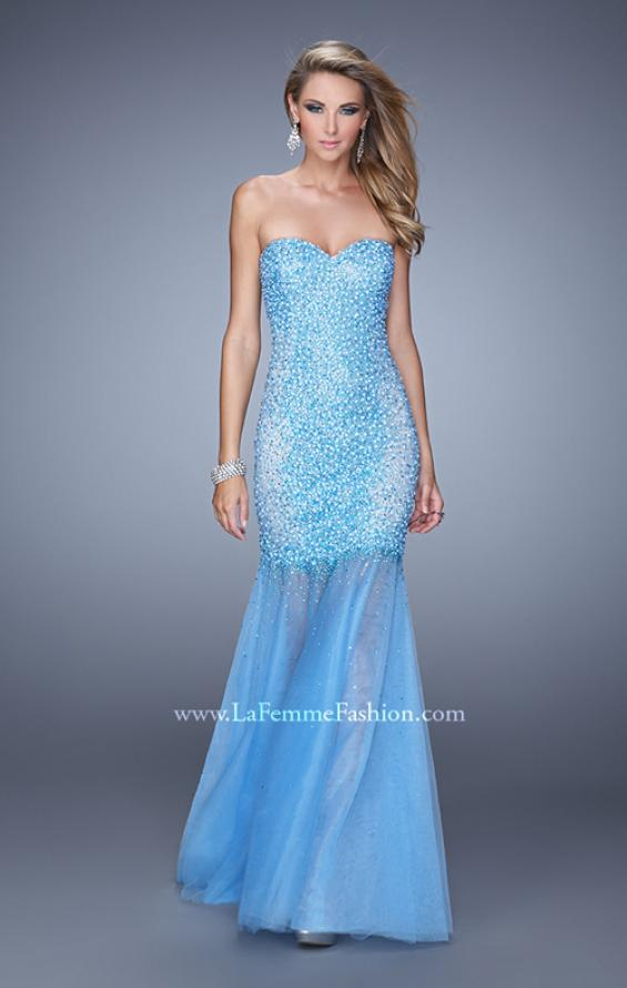 Picture of: Strapless Prom Gown with Full Skirt, Pearls, and Stones, Style: 21324, Main Picture