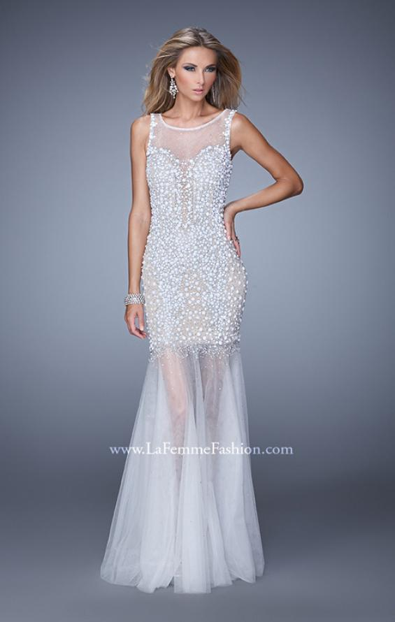 Picture of: Sleeveless Mermaid Prom Dress with Tulle Skirt and Pearls, Style: 21327, Main Picture