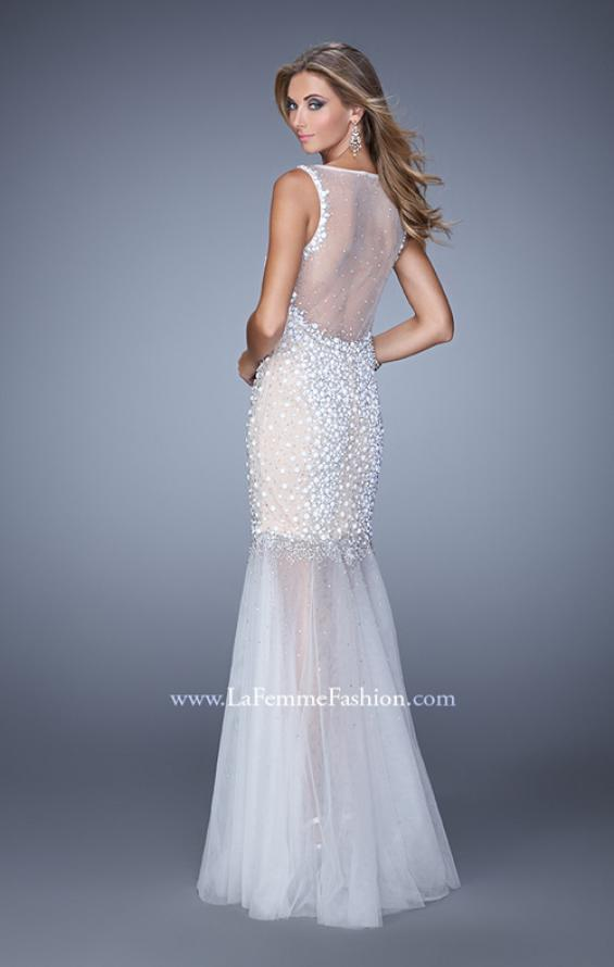 Picture of: Sleeveless Mermaid Prom Dress with Tulle Skirt and Pearls, Style: 21327, Back Picture