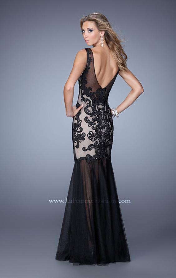 Picture of: Mermaid Gown with Sheer Neckline and Black Jewels, Style: 21328, Back Picture