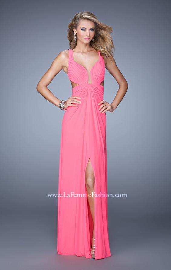 Picture of: Plunging Neckline Prom Gown with Gathered Bust, Style: 21330, Back Picture