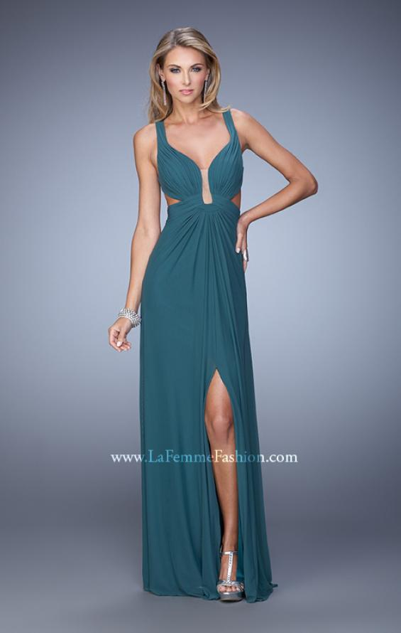 Picture of: Plunging Neckline Prom Gown with Gathered Bust, Style: 21330, Detail Picture 2