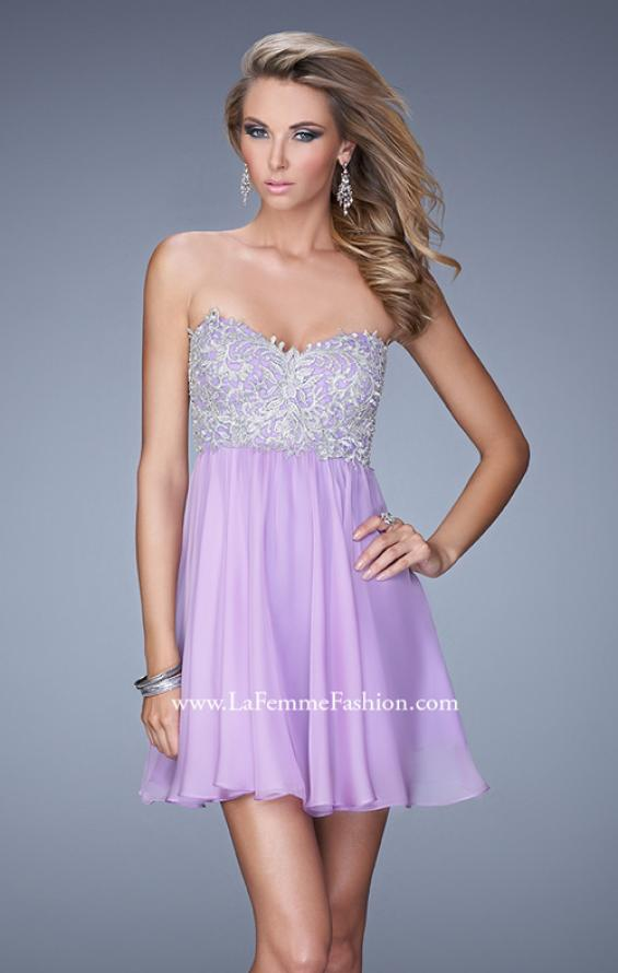 Picture of: Empire Waist Cocktail Dress with Embroidered Bodice in Purple, Style: 21332, Main Picture
