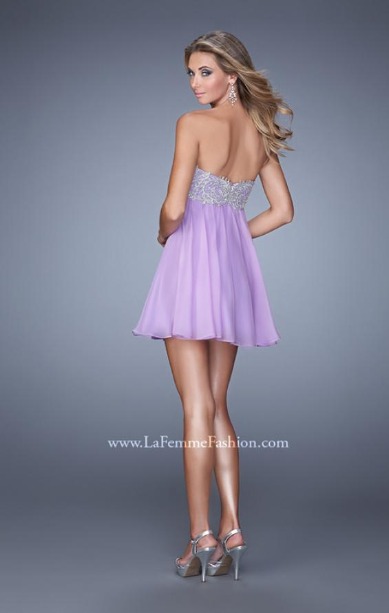 Picture of: Empire Waist Cocktail Dress with Embroidered Bodice in Purple, Style: 21332, Back Picture