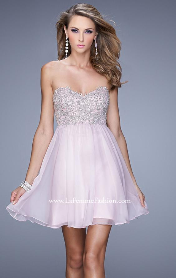Picture of: Empire Waist Cocktail Dress with Embroidered Bodice in Pink, Style: 21332, Detail Picture 1