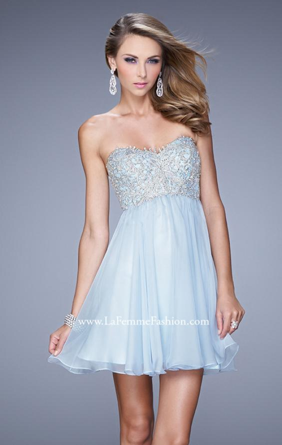Picture of: Empire Waist Cocktail Dress with Embroidered Bodice in Blue, Style: 21332, Detail Picture 2
