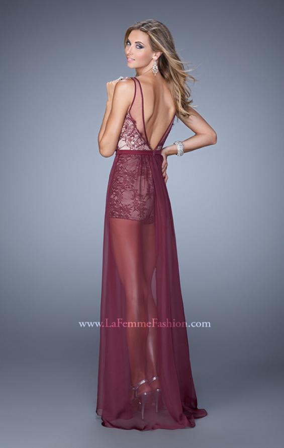 Picture of: Unique Lace Romper with Sheer Overlay, Style: 21333 in Burgundy, Back Picture