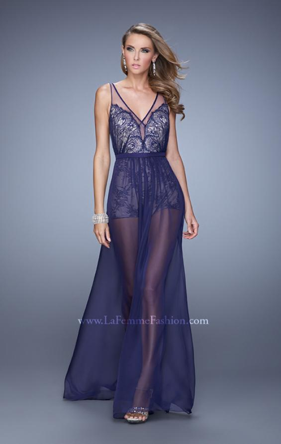 Picture of: Unique Lace Romper with Sheer Overlay, Style: 21333 in Navy, Detail Picture 1