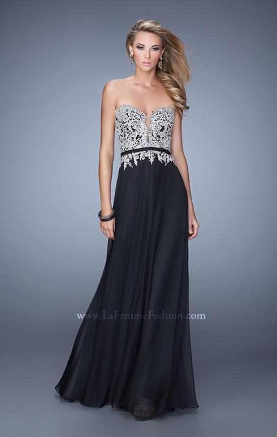 Picture of: Long Chiffon Embroidered Prom Dress with Belt in Black, Style: 21334, Main Picture