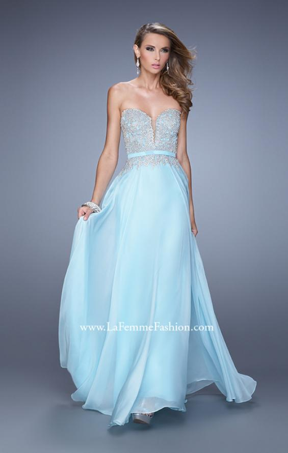 Picture of: Long Chiffon Embroidered Prom Dress with Belt in Blue, Style: 21334, Detail Picture 1