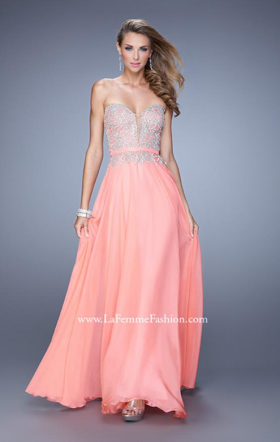 Picture of: Long Chiffon Embroidered Prom Dress with Belt in Coral, Style: 21334, Detail Picture 2