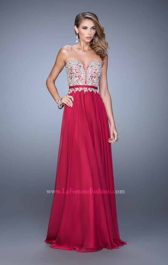 Picture of: Long Chiffon Embroidered Prom Dress with Belt in Red, Style: 21334, Detail Picture 3