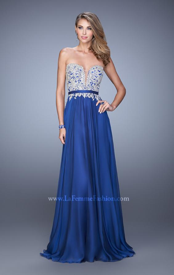 Picture of: Long Chiffon Embroidered Prom Dress with Belt in Blue, Style: 21334, Detail Picture 4