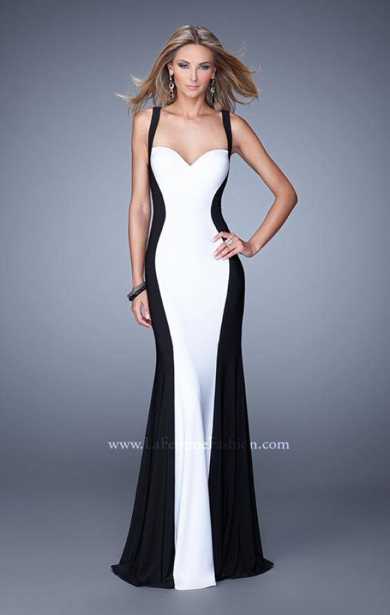 Picture of: Two Toned Jersey Prom Dress with Strappy Back in Black and White, Style: 21337, Main Picture