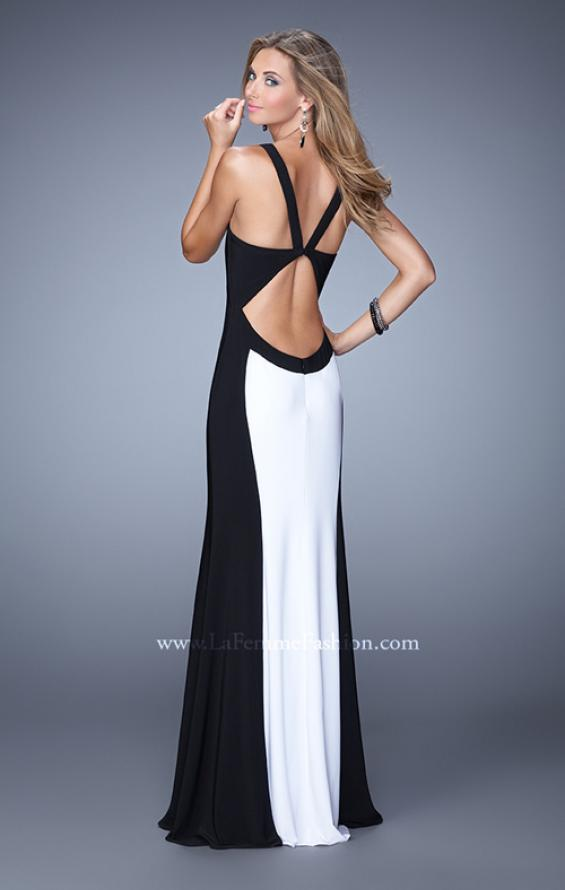 Picture of: Two Toned Jersey Prom Dress with Strappy Back in Black and White, Style: 21337, Back Picture