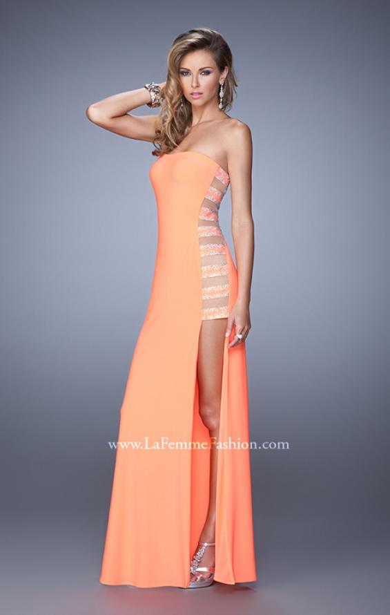 Picture of: Side Slit Jersey Prom Dress with Stones and Sheer Netting in Neon Coral, Style: 21338, Detail Picture 1