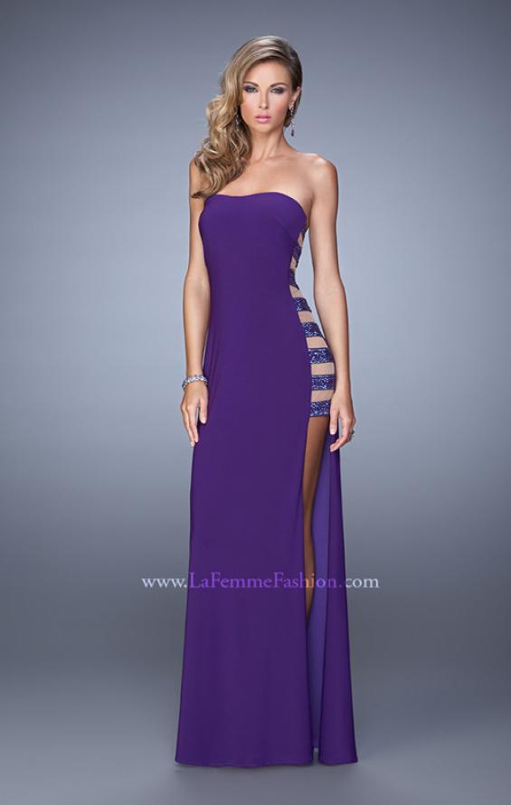Picture of: Side Slit Jersey Prom Dress with Stones and Sheer Netting in Purple, Style: 21338, Detail Picture 2