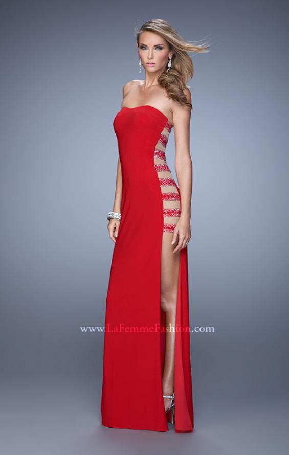 Picture of: Side Slit Jersey Prom Dress with Stones and Sheer Netting in Red, Style: 21338, Detail Picture 3