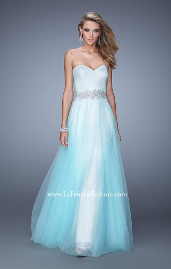 Picture of: Tulle Prom Dress with Lace Lining and Embroidered Belt in Blue, Style: 21341, Main Picture