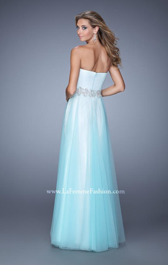 Picture of: Tulle Prom Dress with Lace Lining and Embroidered Belt in Blue, Style: 21341, Back Picture