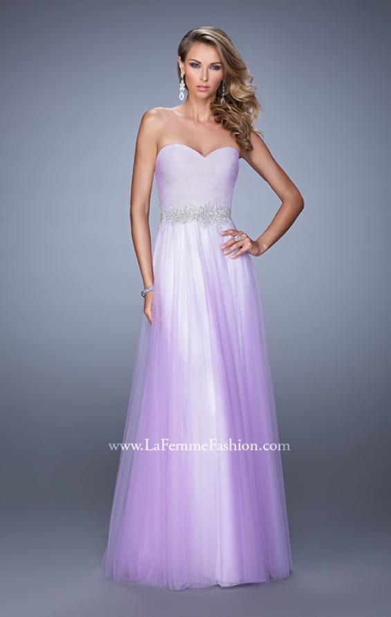 Picture of: Tulle Prom Dress with Lace Lining and Embroidered Belt in Purple, Style: 21341, Detail Picture 1
