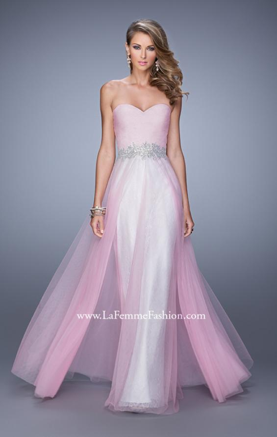 Picture of: Tulle Prom Dress with Lace Lining and Embroidered Belt in Pink, Style: 21341, Detail Picture 2