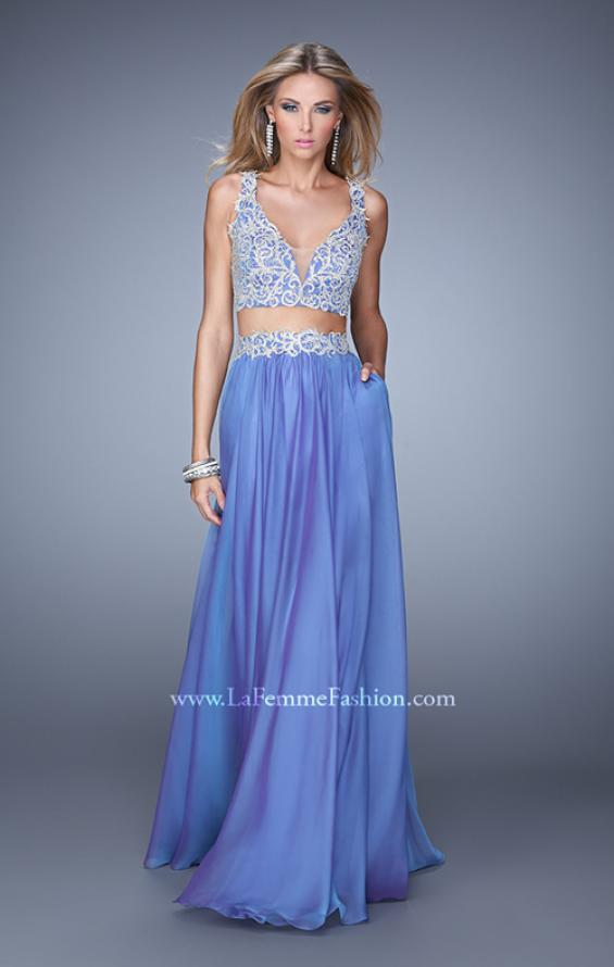Picture of: Two Piece Prom Dress with Embroidered Top and Pockets in Blue, Style: 21342, Main Picture