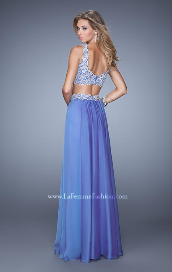 Picture of: Two Piece Prom Dress with Embroidered Top and Pockets in Blue, Style: 21342, Back Picture