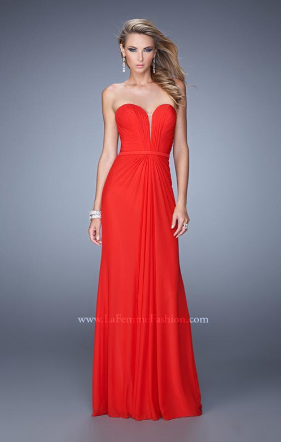 Picture of: Gathered Bodice Prom Dress with Sweetheart Neckline in Red, Style: 21343, Main Picture