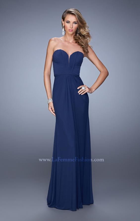 Picture of: Gathered Bodice Prom Dress with Sweetheart Neckline in Navy, Style: 21343, Detail Picture 1