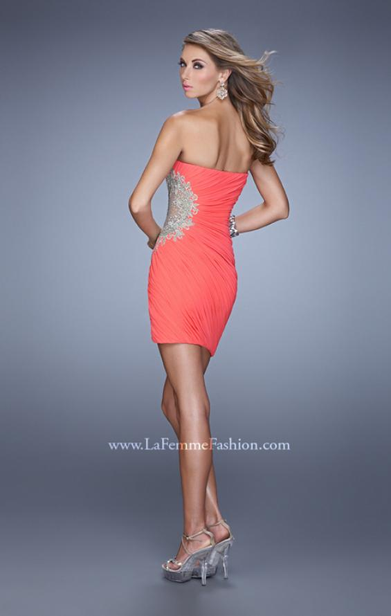 Picture of: Chic Cocktail Dress with Sheer Cuts Outs and Embroidery, Style: 21344, Back Picture