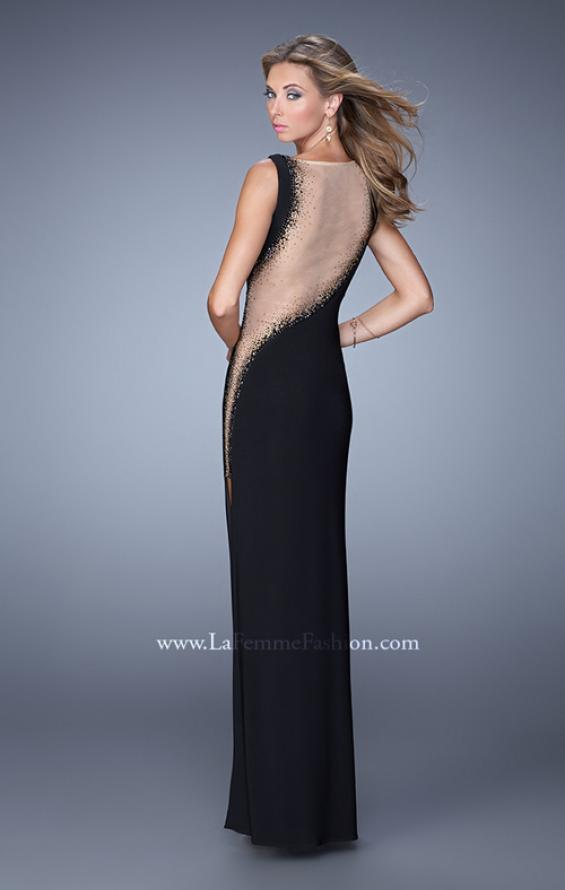 Picture of: V Neck Jersey Dress with Multicolored Rhinestones, Style: 21346, Back Picture